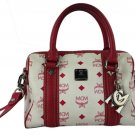 MCM Pink Red Fuchsia Bandouliere Strap Mcmml16 White Satchel