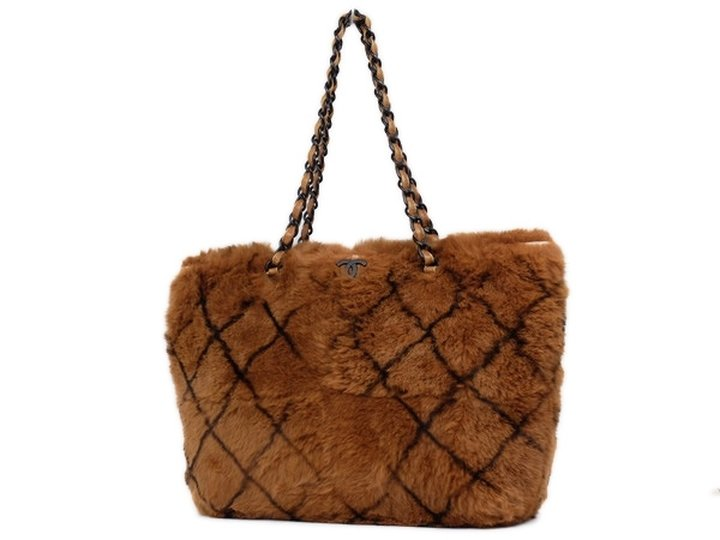 Chanel Quilted Fur Chain 211333 Brown Tote Bag
