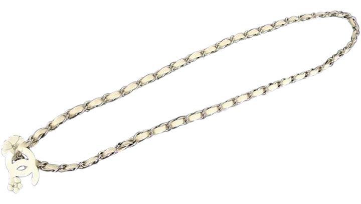 Chanel 04P White CC Camellia Chain Belt 211293