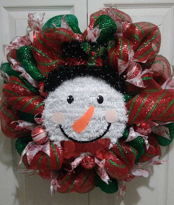 Happy Snowman Holiday Christmas Wreath