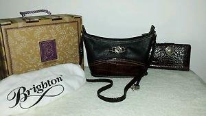 Brighton Leane Black/Choc. Leather Shoulder Purse/Handbag,New in Box and Wallet