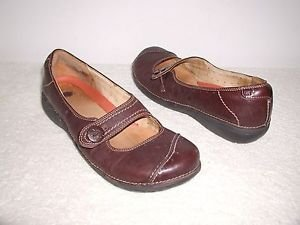Brown Leather CLARKS UnStructured Cap Toe Sporty Casual Mary Jane Shoes 10