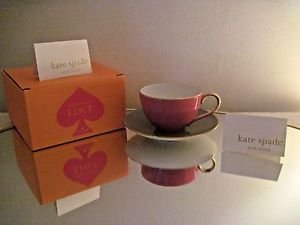 Kate Spade New York Greenwich Grove Pink & Grey Teacup & Saucer Set,New In Box