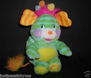 POPPLES Plush Pinwheel Penny Striped Blue Green Stuffed Character, Super Clean !