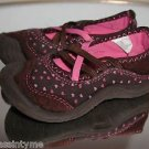 OSH KOSH B'GOSH Girls Brown & Pink Hearts Slip On Style Close Toe Shoes 7M