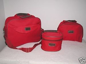 Catherine Kelly Collection 3 piece Overnight,Toiletry,Cosmetic Bags in Red
