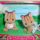 Calico Critters Furbanks Squirrel Twins,.Baby Ray and Sister Fay,New In Box