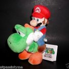 "San-ei Super Mario Plush Series Plush, 8"" Mario and Yoshi,Japanese Import,w/Tags"