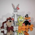 TY  LOONEY TUNES BEANIES, COMPLETE SET !!!  BRAND NEW WITH TAGS!
