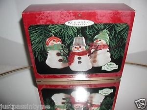 """Hallmark """"The Snowman of Mitford"""" Set of 3  Holiday Snowman Ornaments,New In Box"""