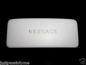 VERSACE White Large Hard Clam Shell Sun Glass or Eye Glass Case GUC