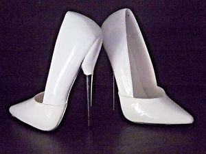 """Devious by Pleaser White Spiked Fetish Stiletto Patent 6.25"""" High Heels Sz.6 New"""