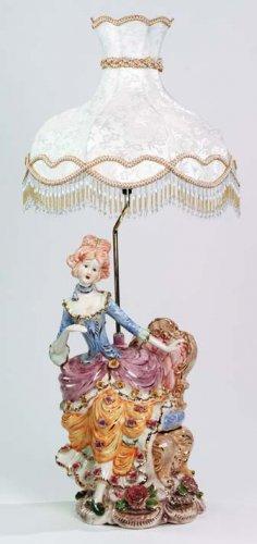 Capodimonte Reproduction Woman Figural Lamp