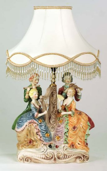 Capodimonte Reproduction Woman Figural Lamp