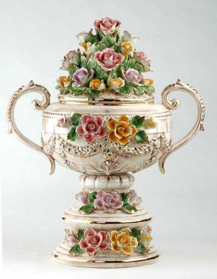 Capodimonte Reproduction Floor Vase w/ Lid