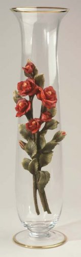 Cevik Vase w/ Rose Flowers (Crystal)