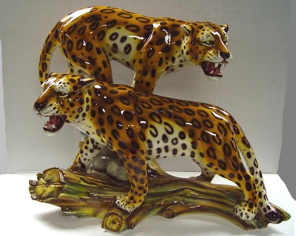 Capodimonte Leopards on a Log