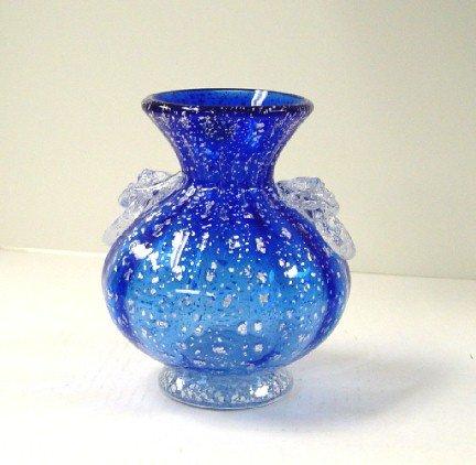 Italian Murano Blue/White Vase