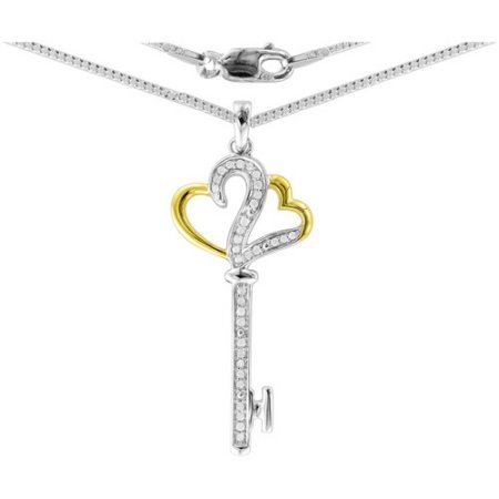 Heart 2 Heart 1/5 Carat T.W. Diamonds Key Pendant in Sterling Silver with 18kt Gold Plating