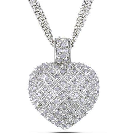 """Miabella 1 Carat T.W. Diamond Sterling Silver Heart Pendant with 3-Strand Chain, 18"""""""