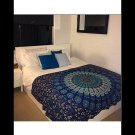 TWIN FEATHER MEDALLION BLUE TAPESTRY WALL HANGING