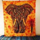 YELLOW ELEPHANT FRONT FACE GOOD LUCK BEDSPREAD WAL