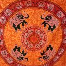 Orange ELEPHANT MANDALA Gpsy bohemine wall hang