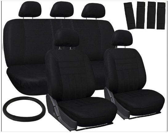Latest Car Seat Covers for Toyota Corolla Solid Black Steering Wheel/Belt Pad/Head Rest