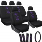 lastest Car Seat Covers Purple Butterfly 17pc Set for Auto w/Steering Wheel/Head Rests