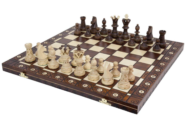 Ambassador Handmade Wooden Chess Set with 21 Inch Board Detailed Chessmen