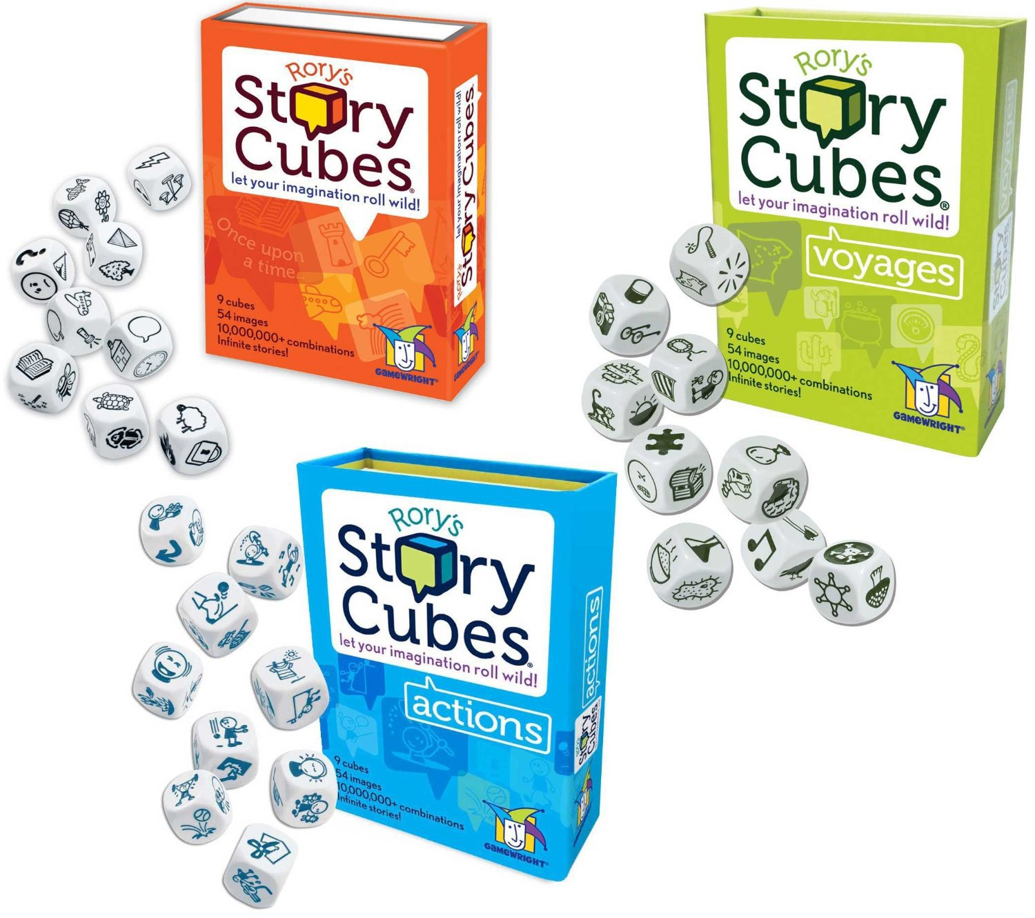 Original Rory's Story Cube Gamewright Actions Voyages Complete Set