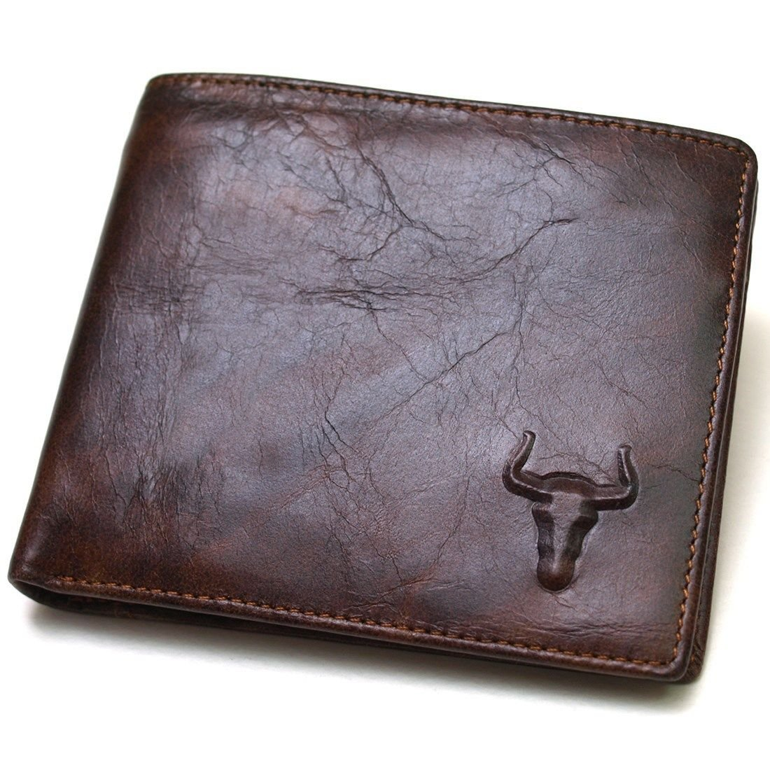 Genuine Leather Mens Wallet ZIPPER Coin Purse Vintage Retro Style