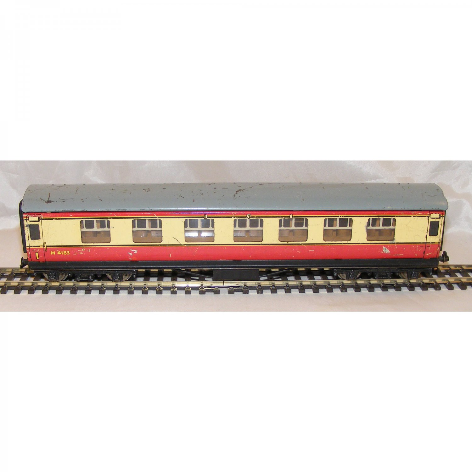 Vintage Tinplate British Railway Carriage in Red and Cream
