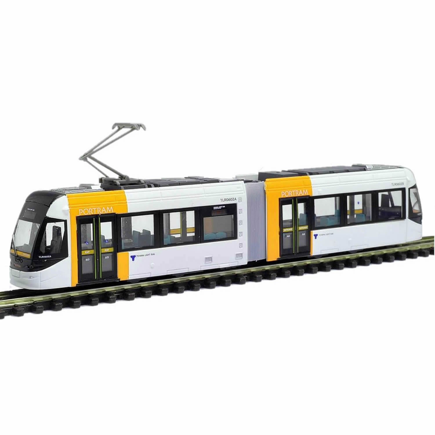 N Gauge / N Scale Tram Articulated Tram in Yellow and White - Light Rail