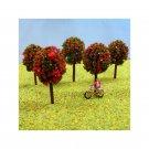 N Gauge Trees Pack of 5 Red Flowering Trees for N Scale Model Railway / Railroad