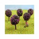 N Gauge Trees Pack of 5 Pink Flowering Trees for N Scale Model Railway / Railroad