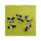 00 / HO Gauge Black and White Friesian Cows for Model Railway Railroad - Pack of 8