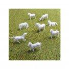 00 / HO Gauge White Horses for Model Railway Railroad - Pack of 8