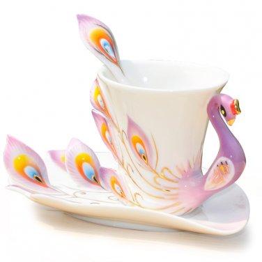 Coffee Mugs Tea Cup Porple Fine Bone Enamel Porcelain Peacock Coffee Cup 3PC Set Saucer Spoon