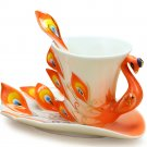 Cool Coffee Mugs Tea Cup Orange Fine Bone Enamel Porcelain Peacock Coffee Cup 3PC Set Saucer Spoon
