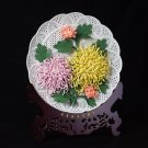 GoRigen 14寸純手作り磁器の花を作る 菊 置き物 菊飾り皿 Chrysanthemum  plate