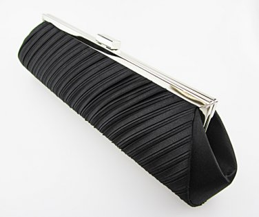 Vintage Black Satin Classy Pleated Evening Bag Clutch