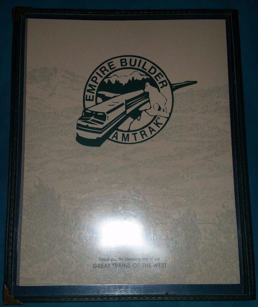 Amtrak The Empire Builder Menu - Used - Printed in 1997