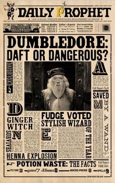 Prof. Dumbledore Daily Prophet Vintage Poster