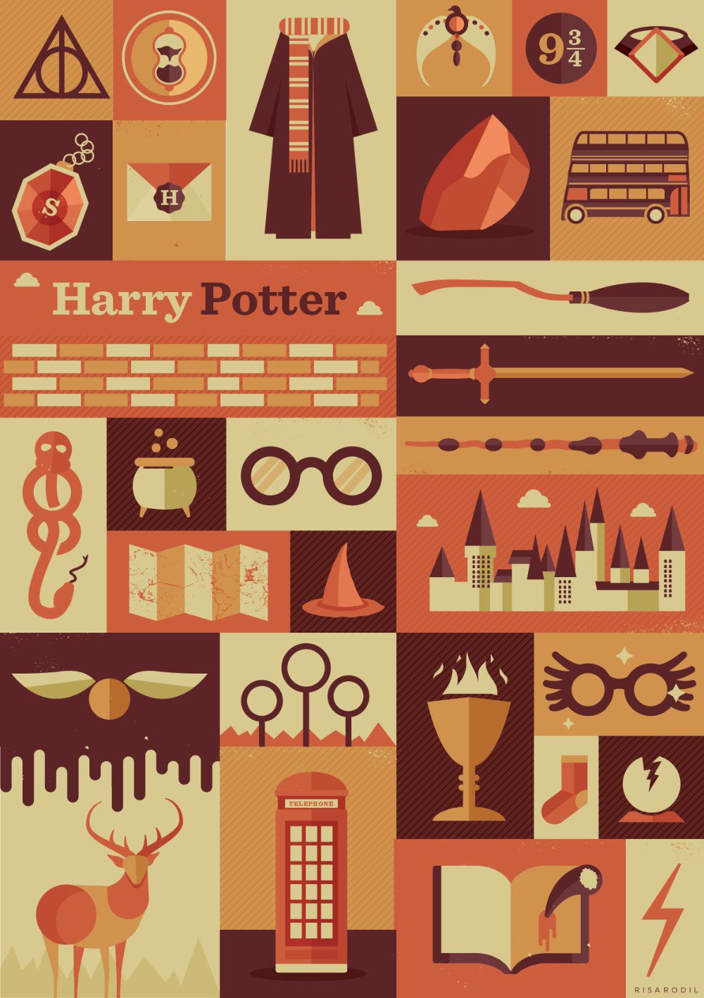 Harry Potter Retro Vintage Poster # 1