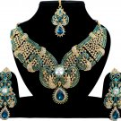 Indian Bridal jewelry Turquoise Kundan Party Wear Gold CZ Necklace Set