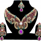 Indian Jewellery Magenta Turquoise Party Wear Gold CZ Kundan Necklace Set