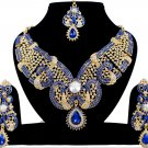 Indian Jewellery Blue Party Wear Gold CZ Kundan Necklace Set