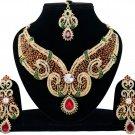 Indian Jewellery Green Maroon Wedding Gold Tone CZ Kundan Necklace Set