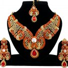 Indian Jewellery Red Wedding Gold Tone CZ Kundan Necklace Set